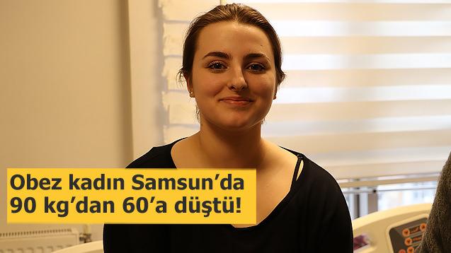 Obez kadın Samsun'da 90 kg'dan 60'a düştü!