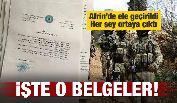 Afrin'de ele geçirildi! İşte o belge