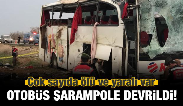 Yolcu otobüsü kaza yaptı! Ölü ve yaralılar var