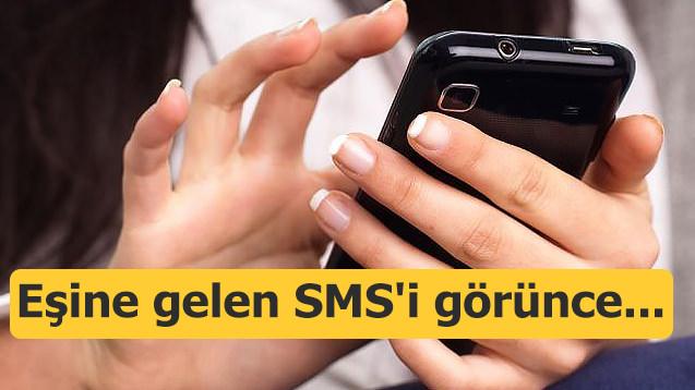 Eşine gelen SMS'i görünce...