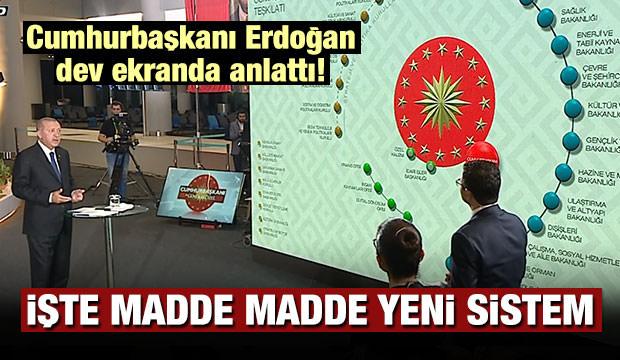 Erdoğan dev ekranda anlattı! İşte yeni sistem