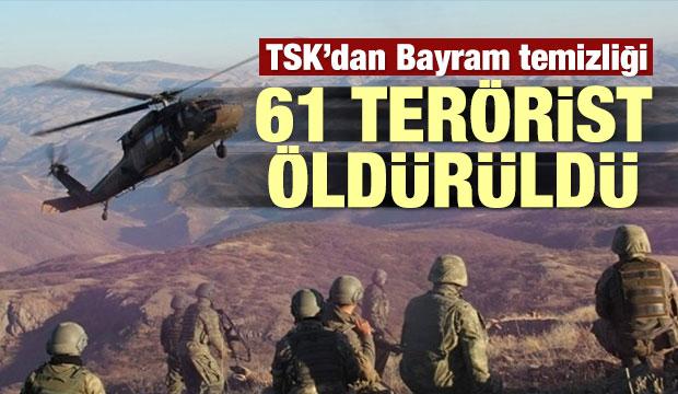 TSK'dan bayram temizliği: 61 terörist öldürüldü