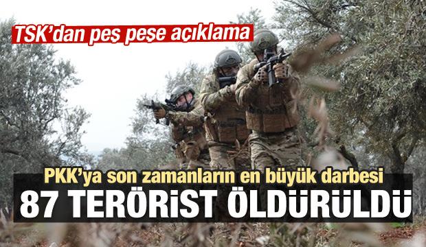 TSK açıkladı: 87 terörist öldürüldü