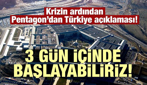 Krizin ardından Pentagon'dan Türkiye açıklaması!
