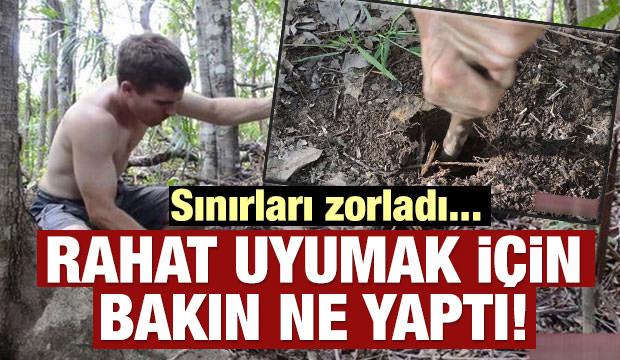 Vahşi ormanda rahat uyumak için bakın ne yaptı!