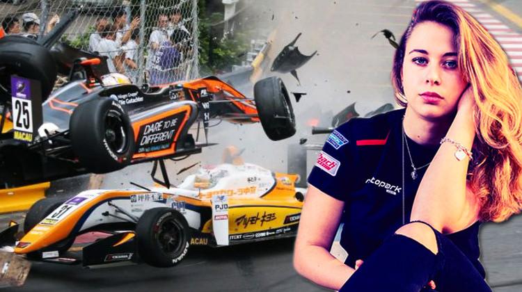 Formula yarışında kadın pilot pistten uçtu!