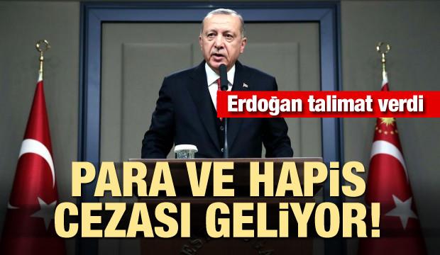 Erdoğan talimat verdi! Para ve hapis cezası geliyor