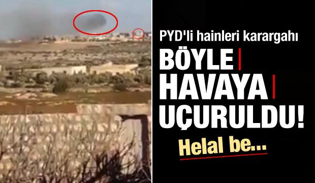 PYD'li hainleri karargahı böyle vuruldu!