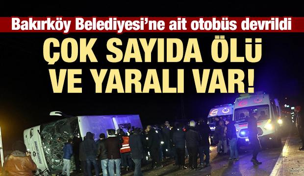 Bakırköy Belediyesi'ne ait otobüs devrildi!