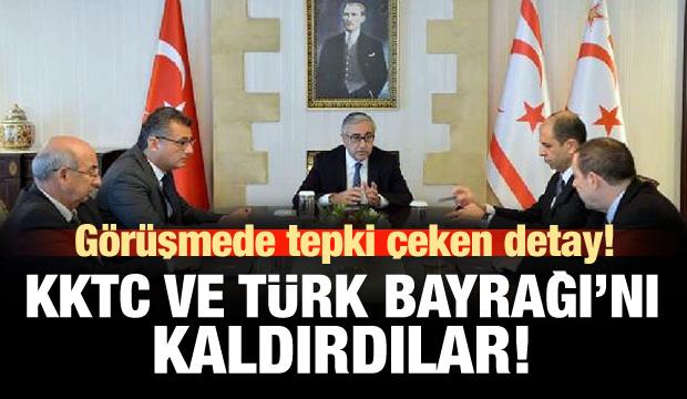 KKTC Bayrağı'nı ve Türk Bayrağı'nı kaldırdılar!