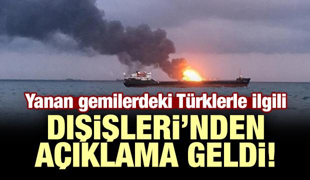 Yanan gemilerdeki Türklerle ilgili Dışişleri'nden açıklama!
