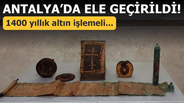 Antalya'da ele geçirildi! 1400 yıllık altın işlemeli...