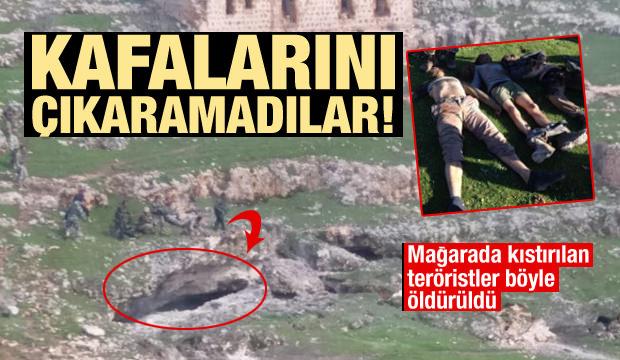 Mağarada kıstırılan teröristler böyle öldürüldü!