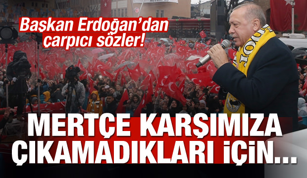 Başkan Erdoğan: Mertçe karşımıza çıkamadıkları için...