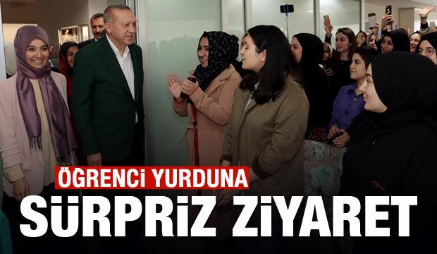 Cumhurbaşkanı Erdoğan'dan kız yurduna ziyaret