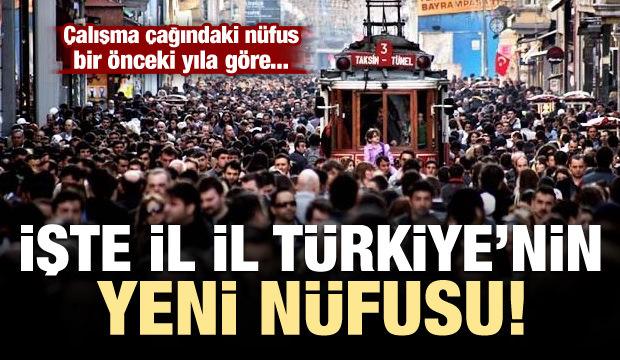 İl il Türkiye'nin yeni nüfusu