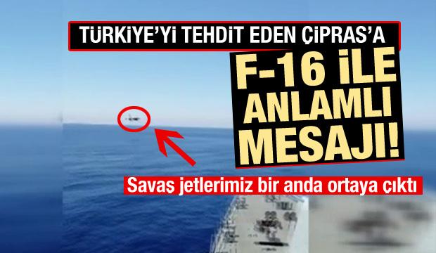 Türk F-16'sından, Fatih Sondaj Gemisine selamlama