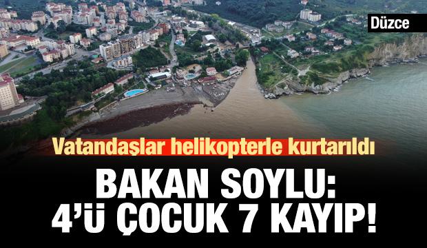 Bakan Soylu'dan Düzce açıklaması: 4'ü çocuk 7 kişi kayıp!