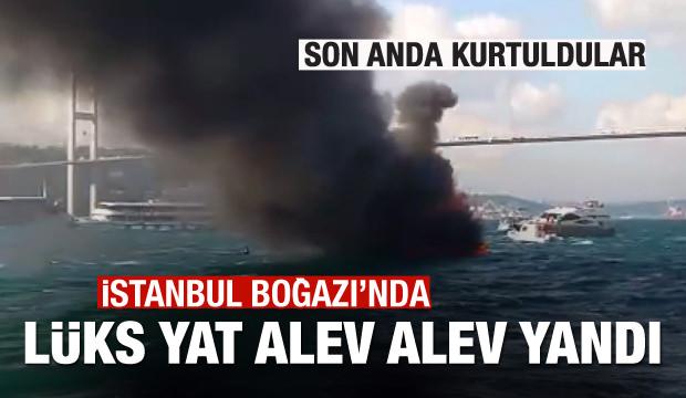 İstanbul Boğazı'nda lüks yat alev alev yandı