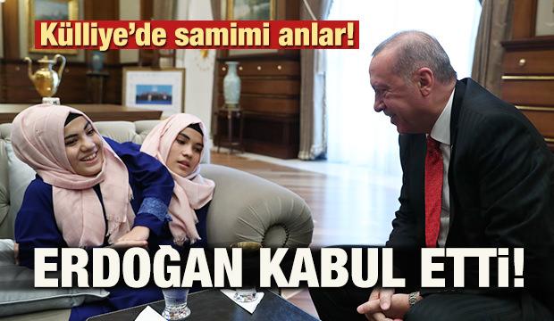 Külliye'de samimi anlar! Erdoğan kabul etti
