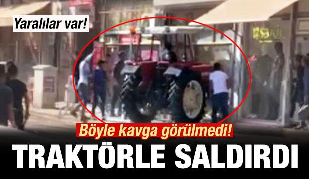 Böyle kavga görülmedi! Traktörle saldırdı!
