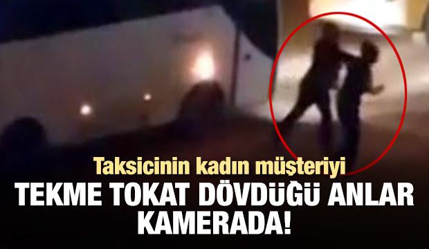 Taksinin aynasını kıran kadını sokak ortasında dövdü!