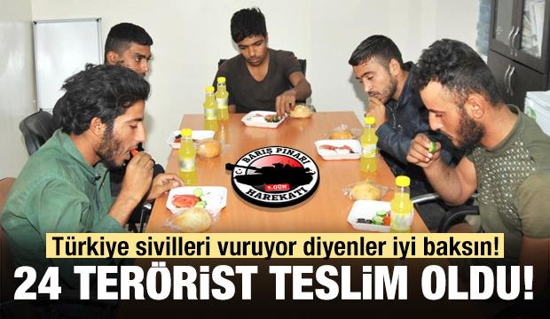Örgütten kaçan 24 terörist teslim oldu! İlk görüntüler...