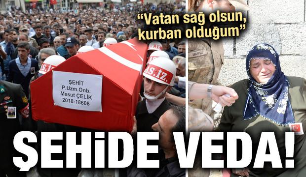 Şehit Uzman Onbaşı Mesut Çelik, son yolculuğuna uğurlandı