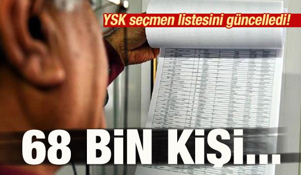 YSK seçmen listesini güncelledi! 68 bin kişi...