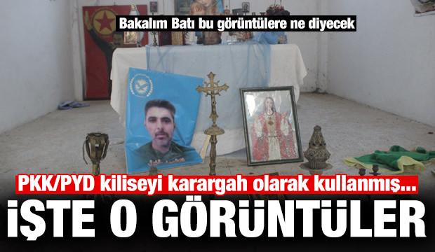 PKK/PYD kiliseyi karargah olarak kullanmış... İşte o görüntüler