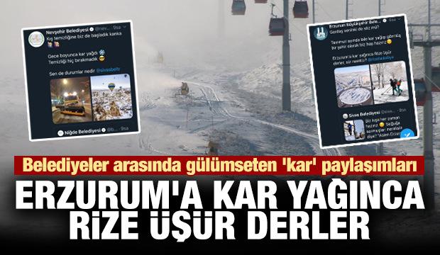 Belediyeler arasında gülümseten 'kar' paylaşımları