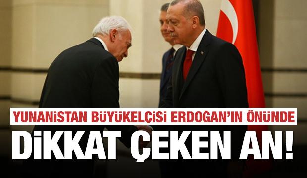 Yunanistan Büyükelçisi, Erdoğan'ın karşısında! Dikkat çeken anlar