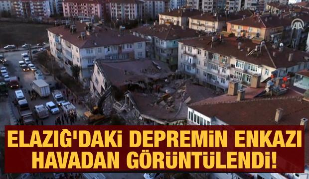 Elazığ'daki depremin enkazı havadan görüntülendi