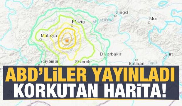 Son dakika haberi... Elazığ'daki depremle ilgili ABD'den korkutan harita!