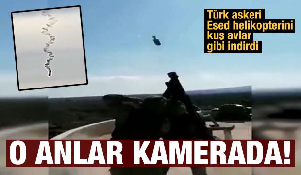 İdlib'de rejime ait helikopterin düşürülme anı