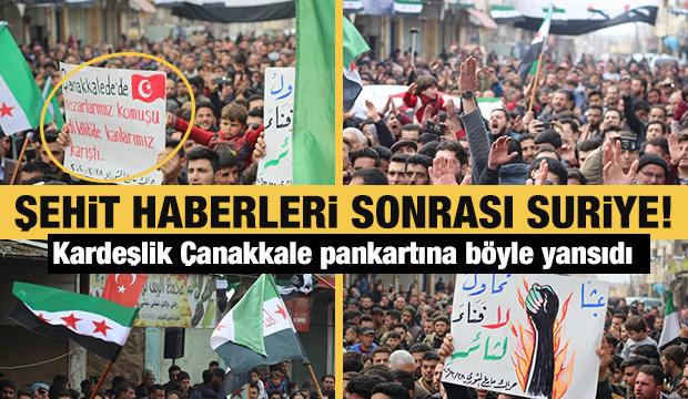 Şehit haberleri sonrası Suriye'de halk Türk bayraklarıyla sokaklardaydı